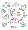 set variety of abstract birds simple line design vector image vector image