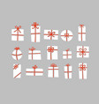 set white christmas gift boxes with red ribbons vector image vector image