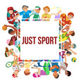 sport cartoon people frame of vector image vector image