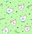 spring cats pattern vector image vector image