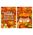 thanksgiving dinner poster set with turkey and pie vector image vector image