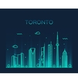 Toronto skyline trendy linear vector image vector image