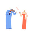 violinist and pretty woman flat cartoon characters vector image