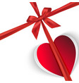 paper gift heart isolated on white vector image
