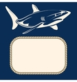 Nautical background with rope frame and shark vector image
