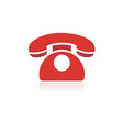 red phone icon with reflection on a white vector image