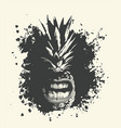 a whole pineapple character with grinning mouth vector image