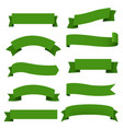 big green ribbons set white background vector image vector image