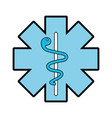 blue caduceus medical shield vector image vector image