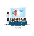 business seminar female speaker making vector image vector image