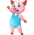cartoon pig in a blue swimsuit vector image vector image