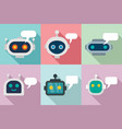 chatbot icons set flat style vector image