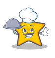 chef star character cartoon style with food vector image