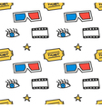 Cinema movie doodles seamless pattern background vector image vector image