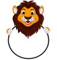 cute lion cartoon holding blank sign vector image