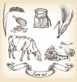 farm set cow and farm house sketch vector image vector image