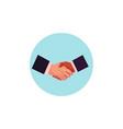 flat man handshake icon vector image vector image