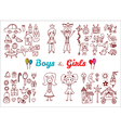 Hand drawn baby boy and girl toys set Elements