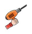 hand with drill doodle vector image vector image