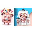 happy birthday poster and merchandising vector image vector image