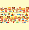 happy jumping kids holding hands vector image