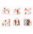 happy people cooking in kitchen flat vector image