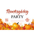 happy thanksgiving party flyer with colorful vector image vector image