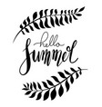 hello summer handwritten lettering with palm vector image vector image