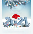 holiday christmas background with santa hat vector image vector image