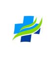 hospital cross sign wave logo vector image vector image