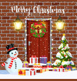 house door decoration for the christmas vector image vector image