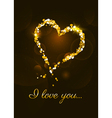 I love you card with heart made of golden glitte vector image