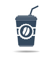 icon of coffee glass with tube vector image vector image
