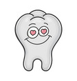 in love cute smiling tooth cartoon vector image