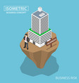 isometric businessman build business building on vector image vector image