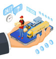 isometric internet shopping delivery and logistics vector image vector image