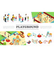 isometric kids playground elements collection vector image vector image
