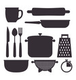 kitchen set utensils icons vector image vector image