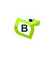 leaf initial b logo design template vector image