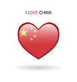 love china symbol flag heart glossy icon on a vector image vector image