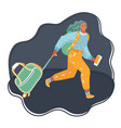 lovely girl running with suitcase vector image vector image