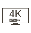 Monochrome 4K Ultra HD TV icon vector image