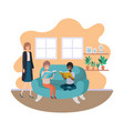 mother and sons sitting in couch avatar character vector image vector image