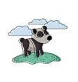 panda cartoon in outdoor scene with clouds in vector image vector image