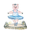 Pig ballerina on the stage drawn in watercolour