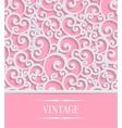 Pink 3d vintage invitation card with floral