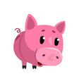 sad pink cartoon baby piglet cute funny little vector image