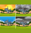 set of industrial factory scenes vector image vector image