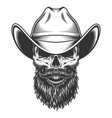 skull in the cowboy hat vector image vector image