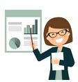 smiling businesswoman in a business presentation vector image vector image